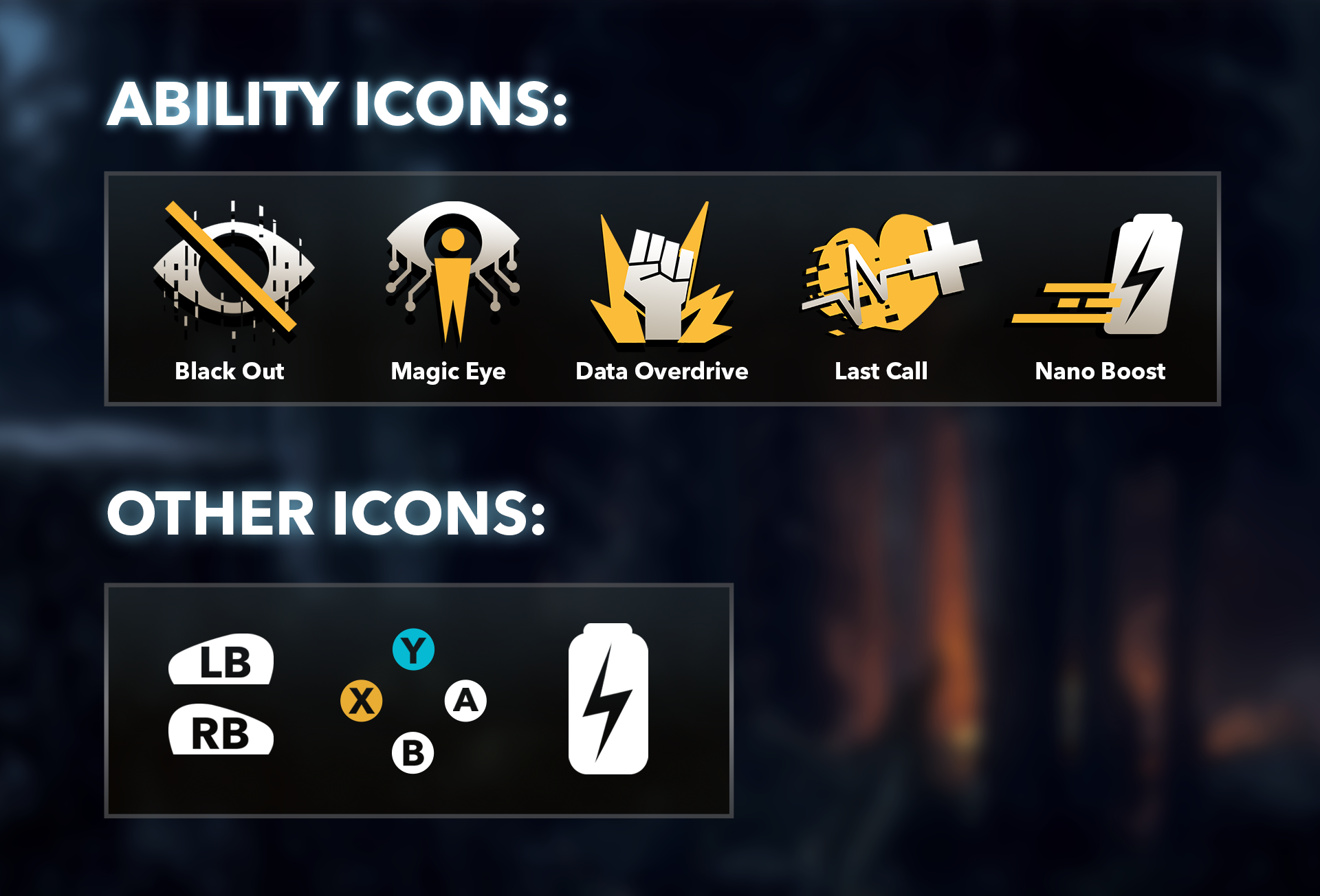 Details of icons from the Ubisoft NEXT 2019 UI art challenge.